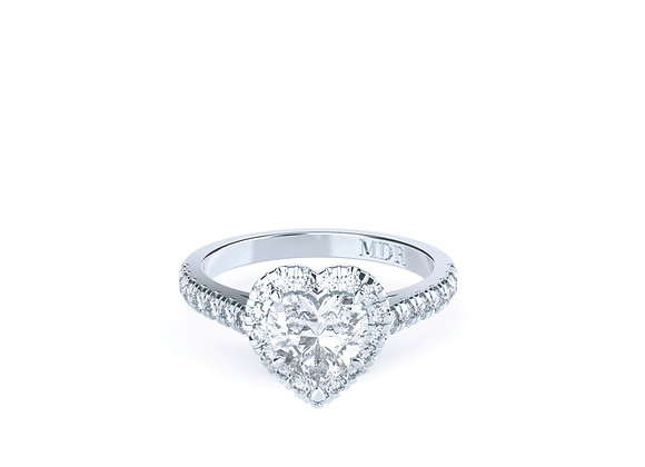 Heart Shape Diamond in a Halo of Diamonds set in 18ct White Gold