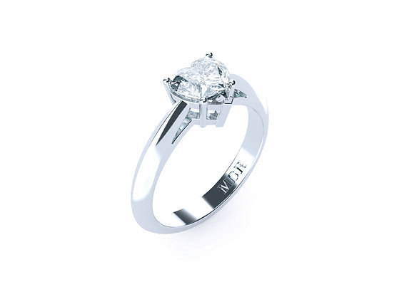 Stunning Platinum Solitaire Heart Cut Diamond Engagement Ring using 5 claws.