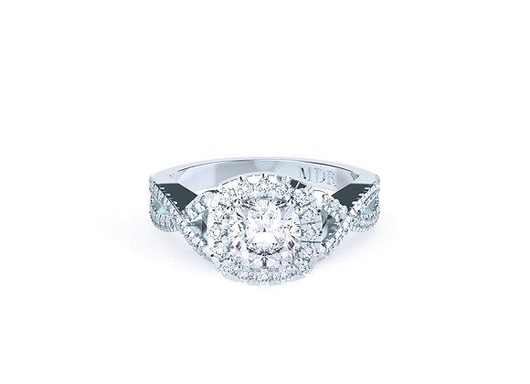 TwistedBand Cushion Cut Diamond Ring
