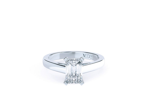 18ct White Gold Emerald cut Diamond Solitaire Ring