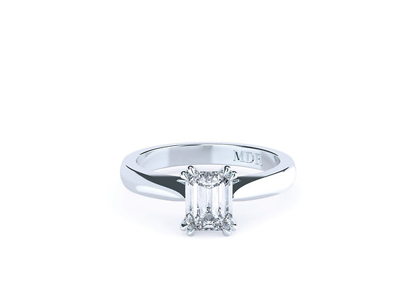 A real Eye Catcher is this Fantastic Emerald Cut Diamond Ring in Platinum