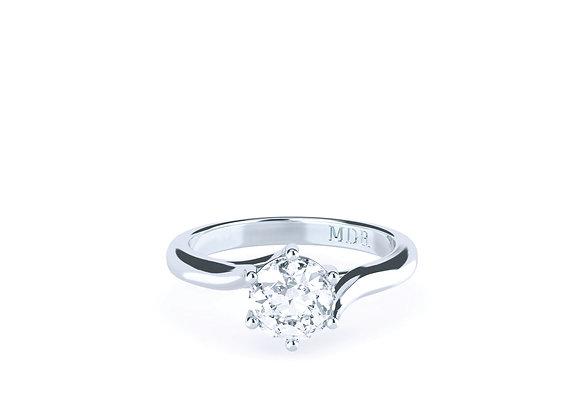 Round Brilliant CutDiamond Solitaire Ring Crafted in Platinum
