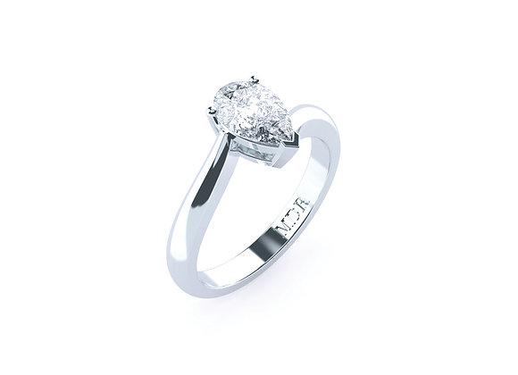 18ct White Gold Pear Cut Diamond Ring with Unique Design