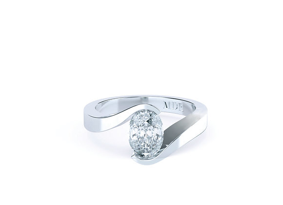 Stunningly Designed Twist Oval Diamond Ring in Platinum