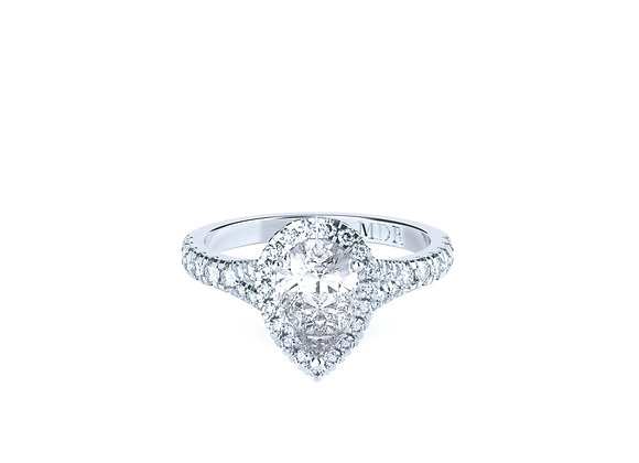 Elegant & Brilliantly Crafted Pear Cut Diamond Halo Ring in 18ct White Gold