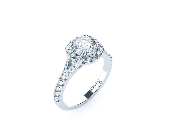18carat White Gold and set with dazzling Cushion Cut Diamond