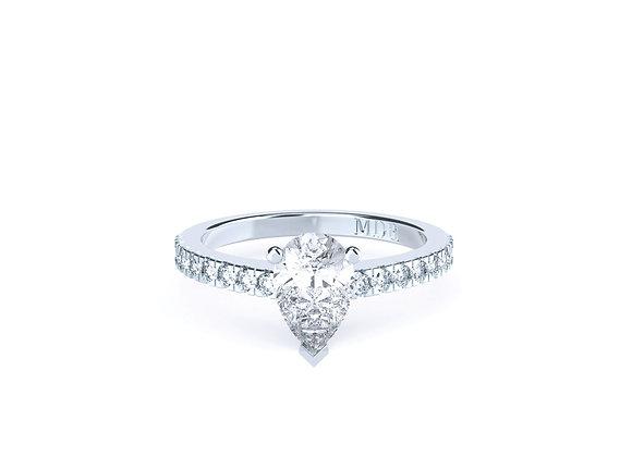 Stunning Pear Cut Centre Diamond set amongst an array of Shoulder Diamonds