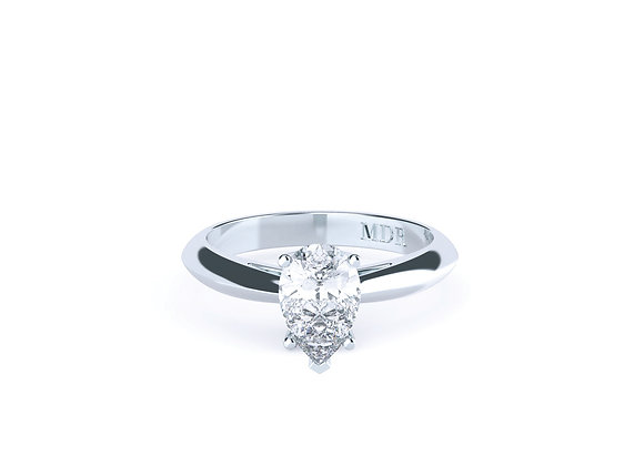 Pear Cut Diamond Solitaire Ring Individually Finished in Platinum