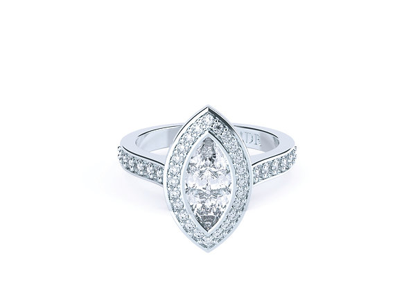 This stunning Bezel Set Marquise Accented by surrounding Diamonds