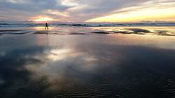 Bipedal Hominid Striding Across Sand