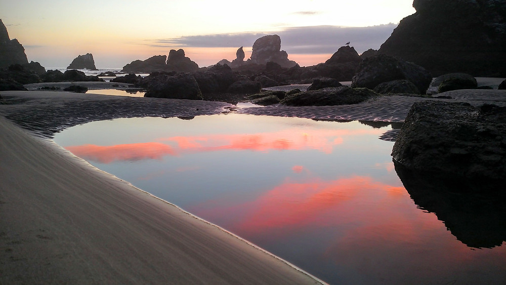 Sunset in a Tidepool at Ecola Point