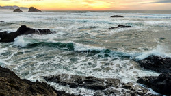High Tide and Sunset at Ecola