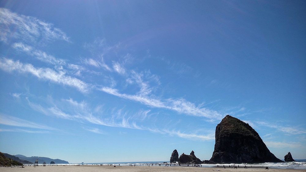Cirrus Clouds over Haystack Rock