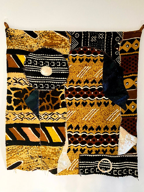 African Mudcloth & Leather Wall Tapestry