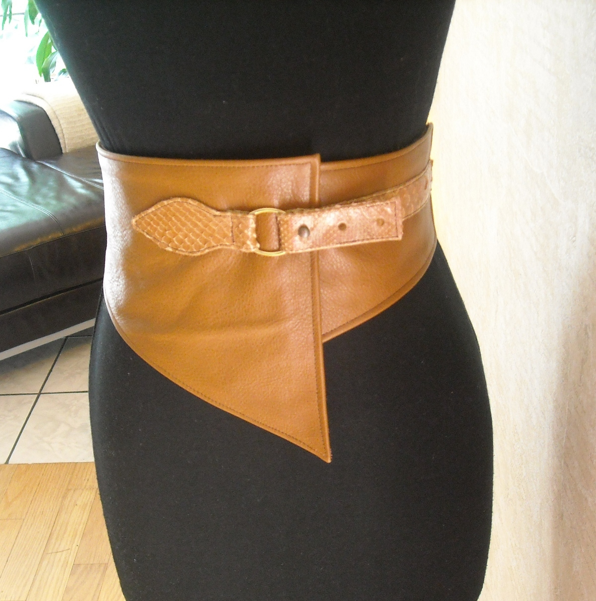 Tan Leather and Snakeskin corset