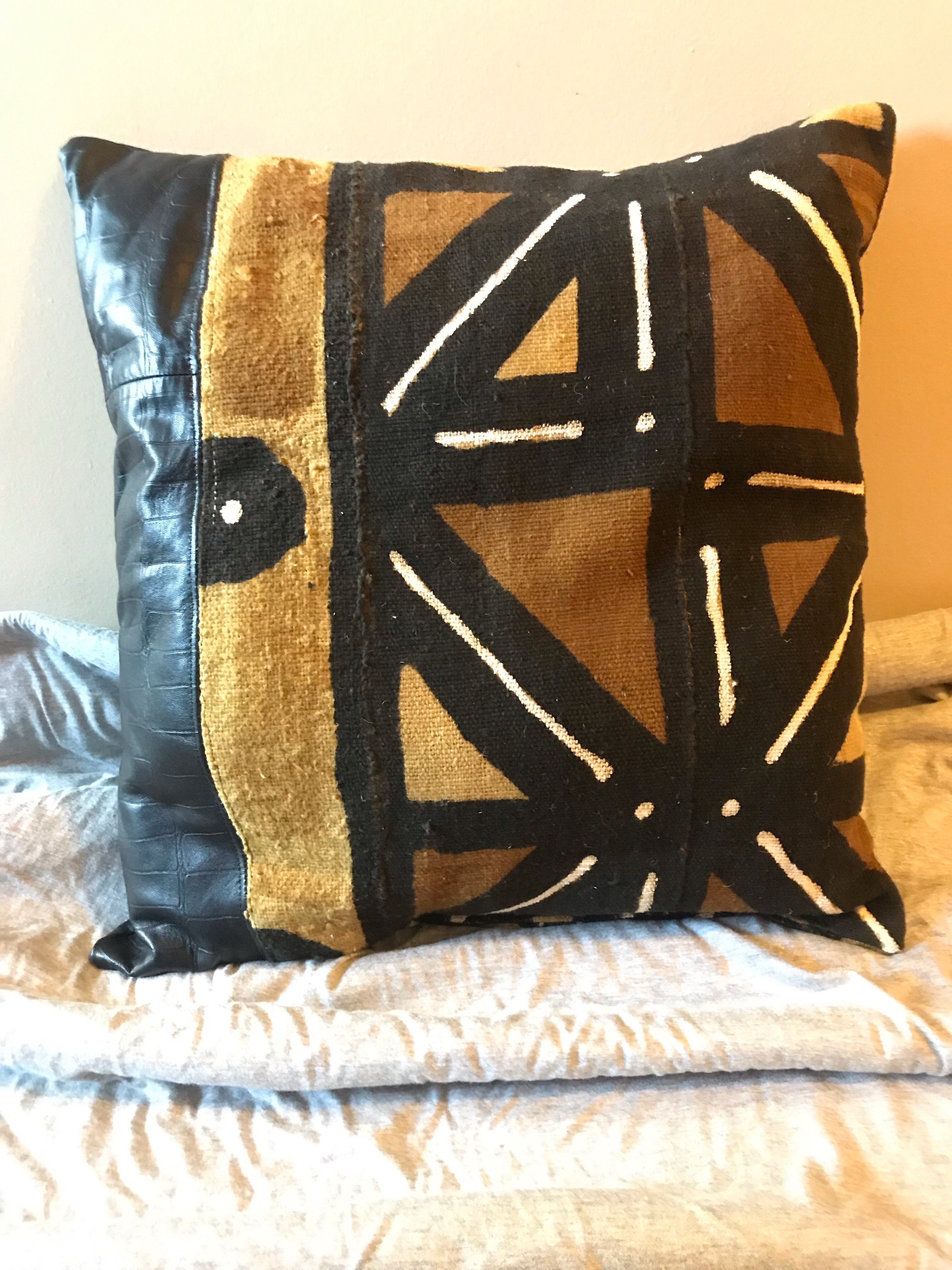 Vertical Leather & Mudcloth Pillow