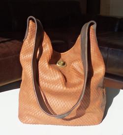 Custom leather bucket bag