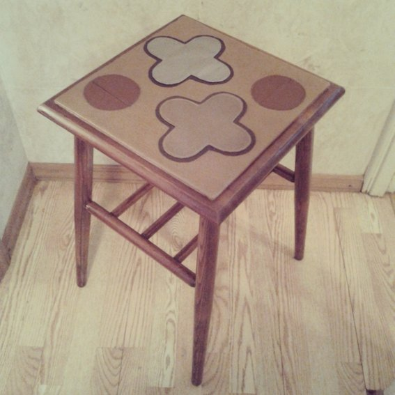 Leather & Wood Moroccan Game Stool