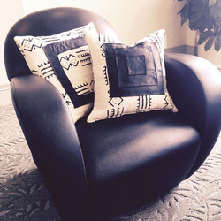 Mud cloth and leather throw pillows