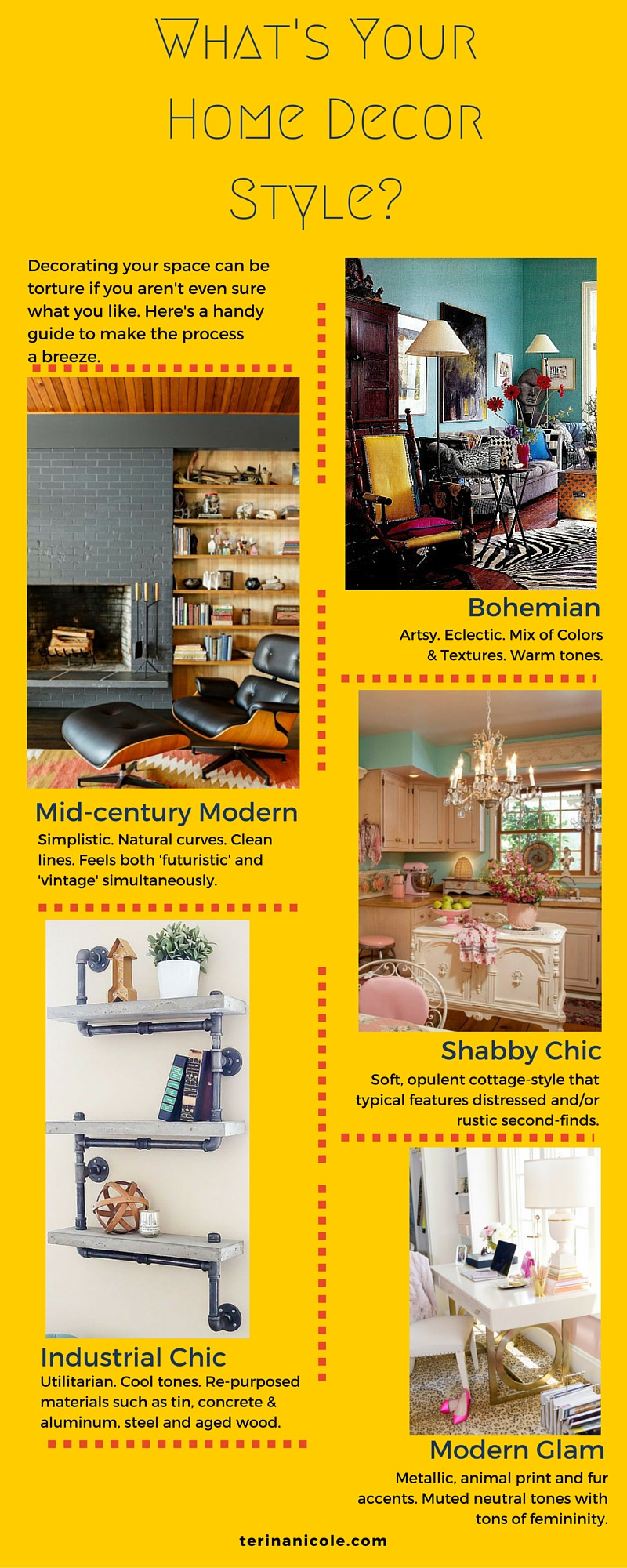 An infographic describing several home decor styles by interior stylist Terina Nicole