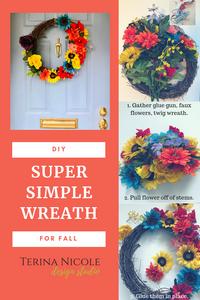 diy wreath, terina nicole design studio, easy wreathmaking, best diy blogs in nj