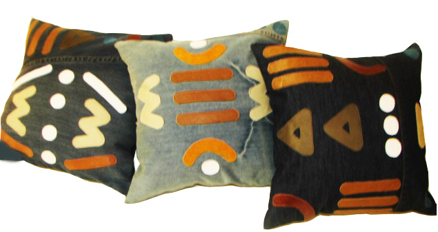 Massai Warrior Denim throw pillows
