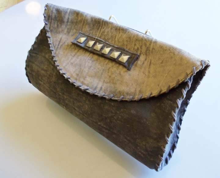 Distressed Grey Nubuck clutch
