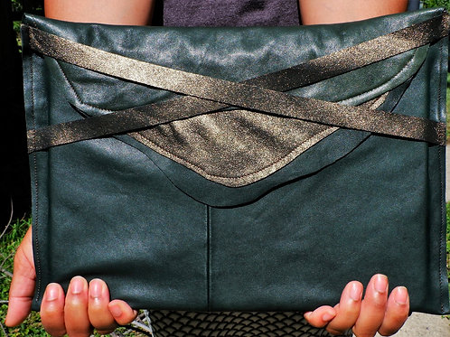 Leather Laptop Case in Green & Gold