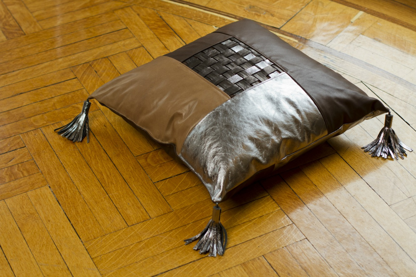 Weaved leather floor pillow