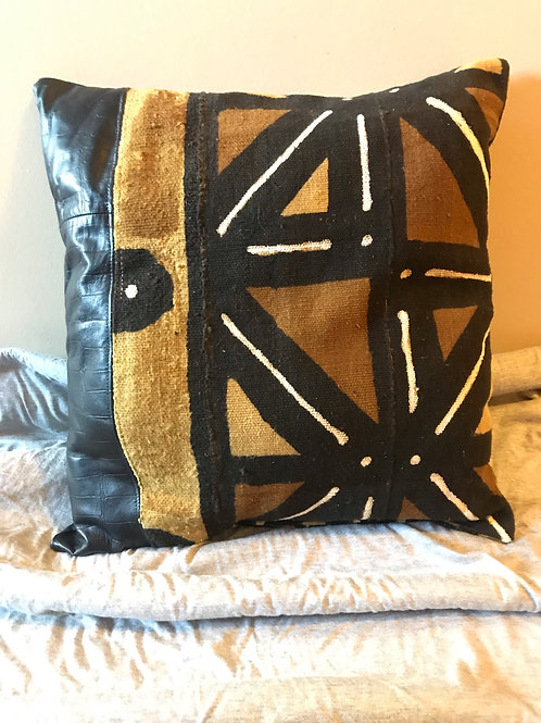 Black Croc Leather & Mudcloth Throw Pillow