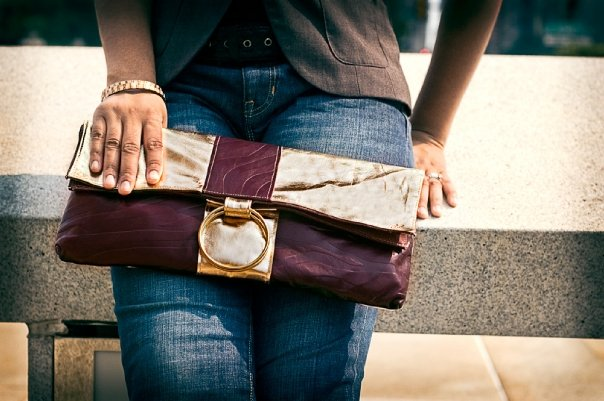 Lambskin leather clutch
