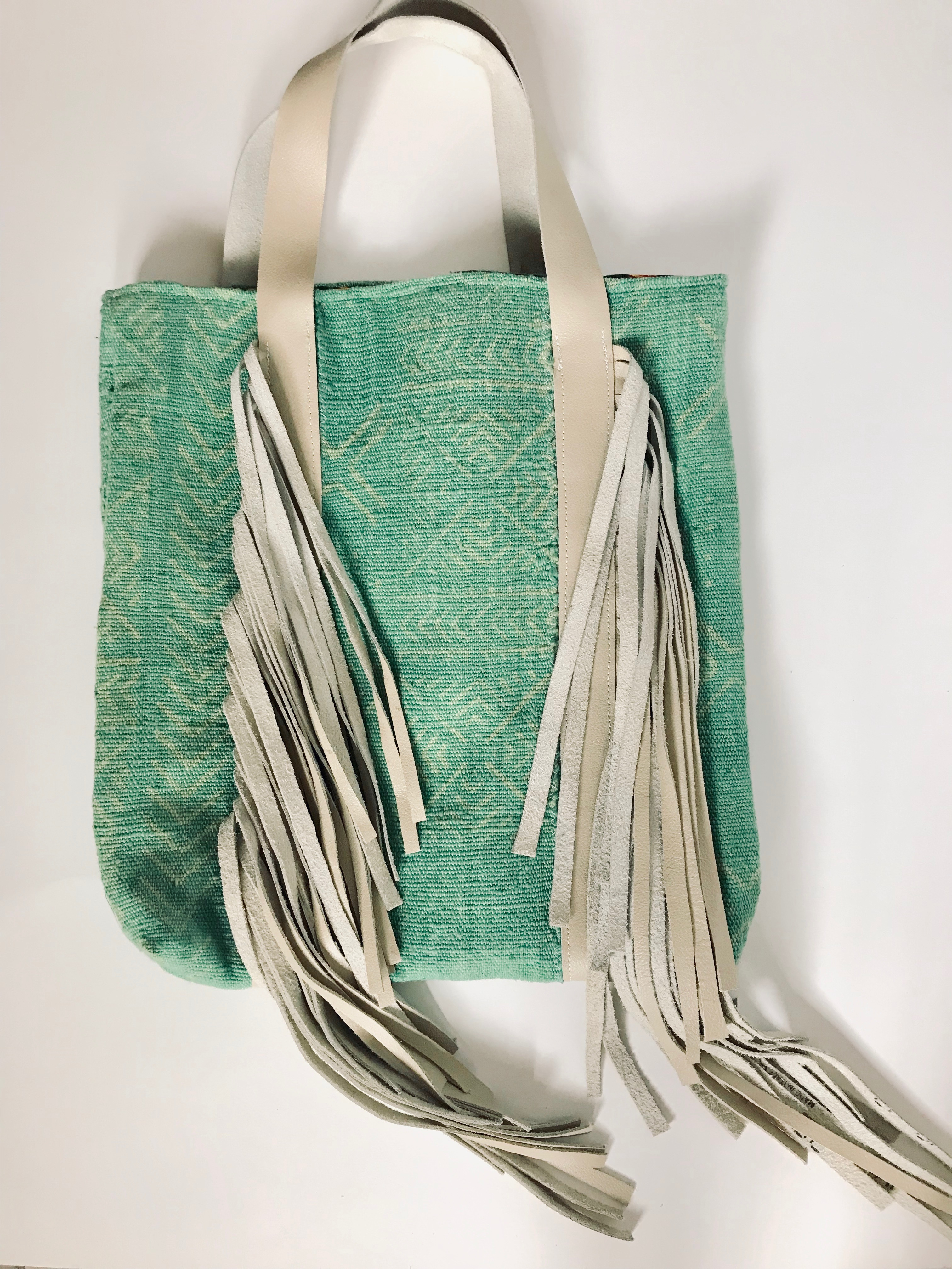 Kravitz Tote in Green Mudcloth