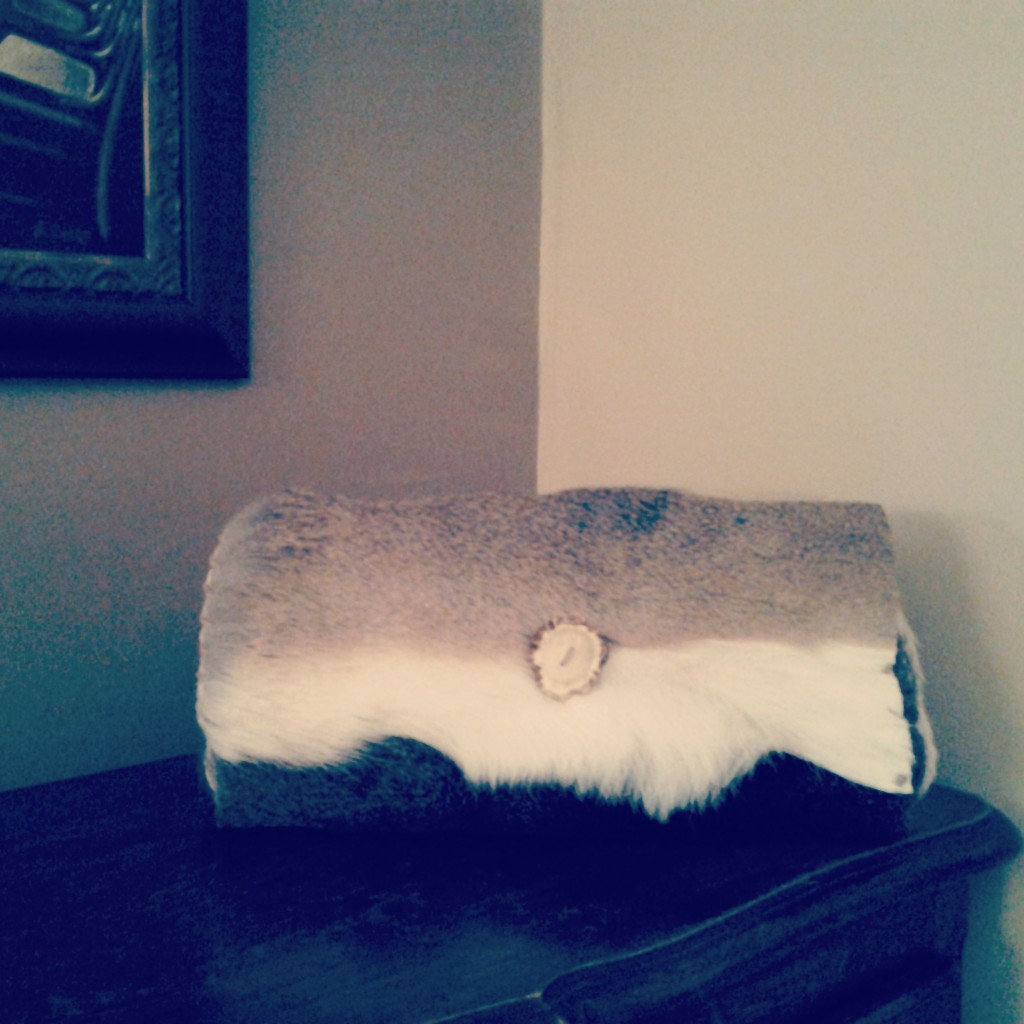 Deerhide Clutch with Antler