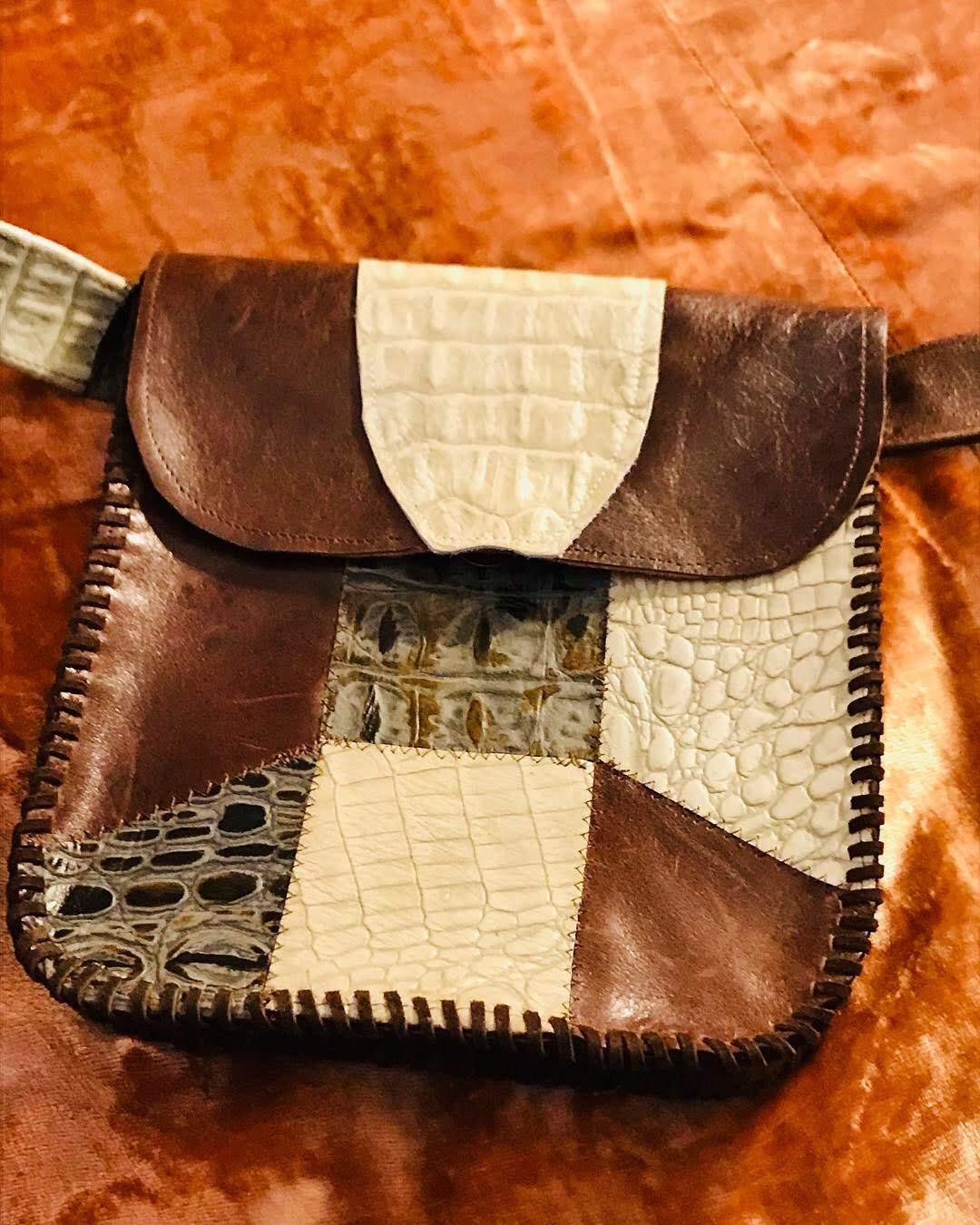Patchwork Leather Fanny Pack