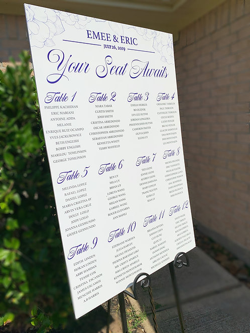 Wedding Day Seating Chart