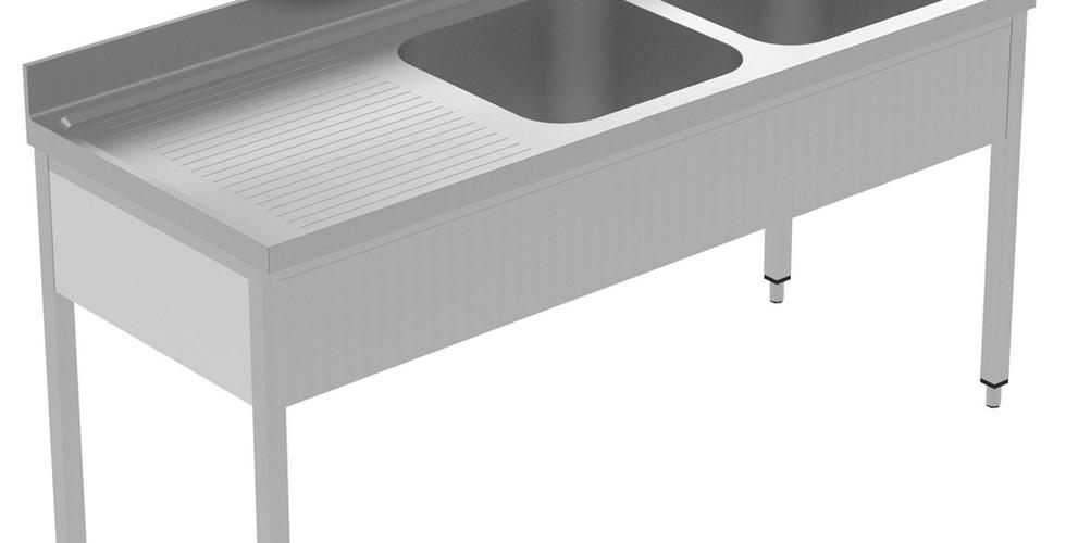 Preparação estática  Dissipador de 1800 mm com 2 taças - Dreno esquerdo 134069 Unidade de pia, com 2 taças (500x600x300mm) e escorredor à esquerda, 1800mm