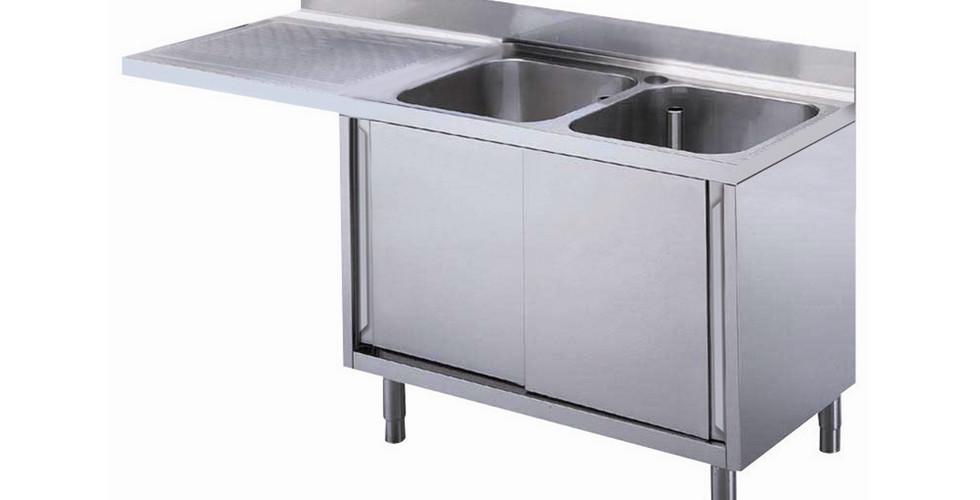 Preparação Premium  1800 mm pia do armário para máquina de lavar louça com 2 taças e escorredor