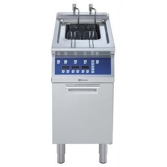 """Fritadeira elétrica programável com pé direito de 1 """"V"""" (elementos de aquecimento externos) e 2 cestos 15-lt"""