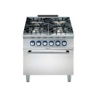 Linha de Cozinha Modular  900XP Gama de Queima de 4 Queimadores com Forno de Convecção com bancada de 3mm e ignição elétrica