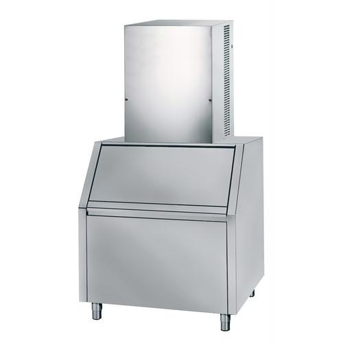 Sistema vertical cuber de gelo modular, 140 kg / 24h, caixa de coleta de aço inoxidável de 200 kg inclusa, refrigerado a ar