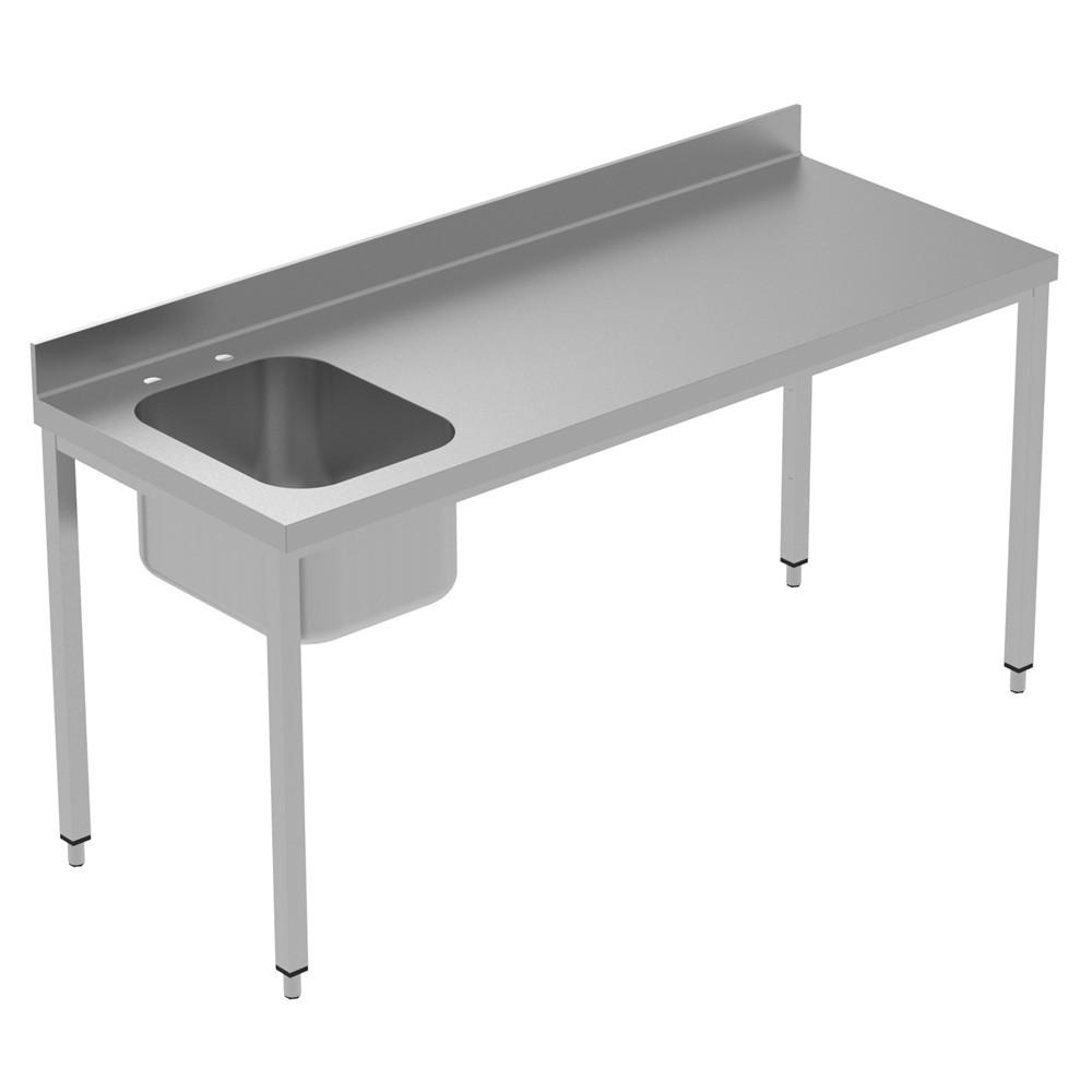 Preparação estática  Mesa de trabalho de 1800 mm com suporte - bacia esquerda 134026 Mesa de trabalho com a taça esquerda e superior, 1800mm