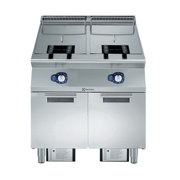 """Fritadeira a gás de 15 + 15 litros com dois poços em forma de """"V"""" (queimadores externos) e 2 cestos"""
