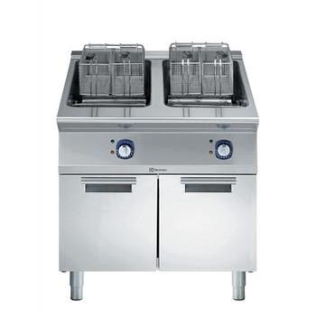 Fritadeira elétrica de 18 + 18 litros com 2 poços e 4 cestas de meio tamanho, elementos internos de aquecimento