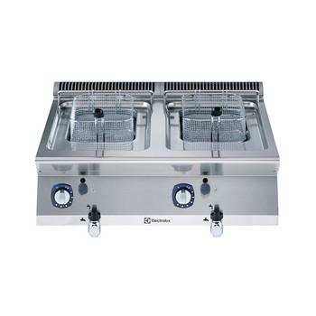 """Fritadeira a gás de 7 + 7 litros com dois poços em forma de """"V"""" (queimadores externos) e 2 cestos"""