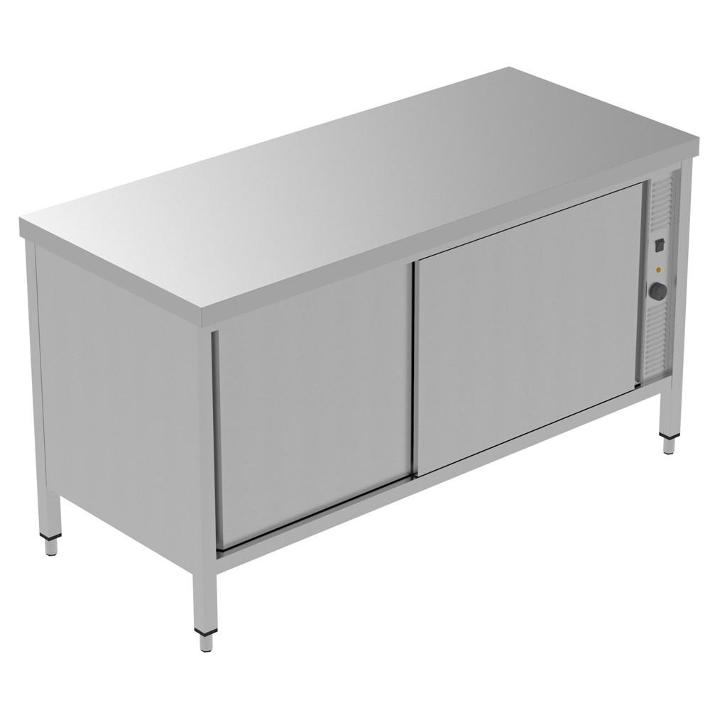 Preparação estática  1600 mm Hot Cupboard 134047 Armário quente, com 1 prateleira e 2 portas de correr, 1600mm