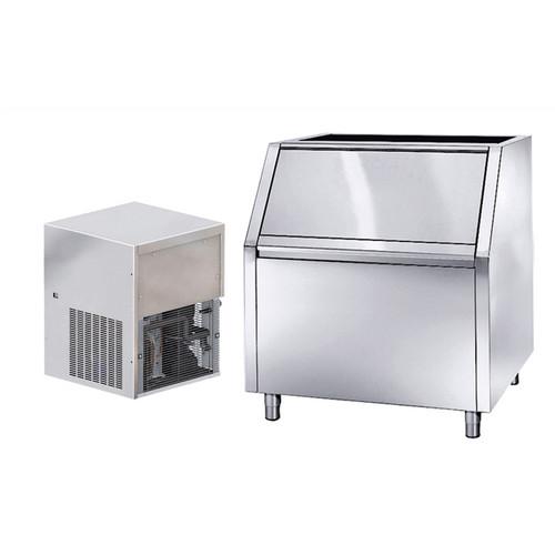 Caçamba coletora modular de gelo, granular, 280 kg / 24h, aço inox 200kg, refrigerada a ar