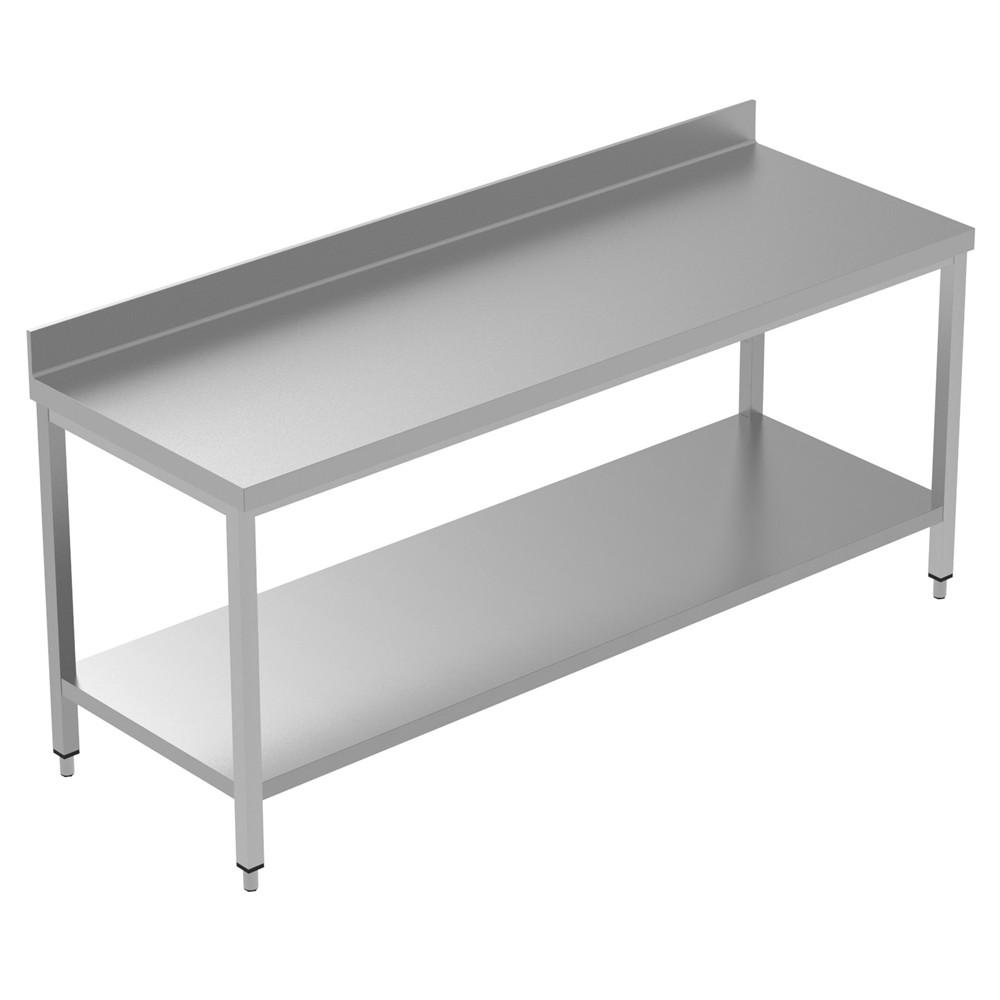 Mesa de trabalho de preparo estático de 2000 mm com apoio para cima e com prateleira inferior 134103 Mesa de trabalho com prateleira inferior e upstand, 2000mm