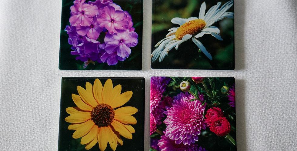 Flower Ceramic Coasters Set of 4