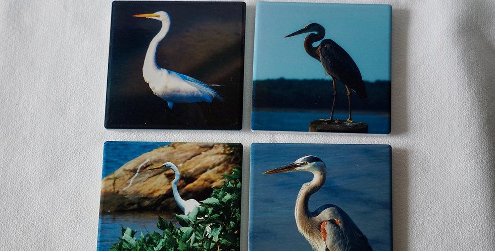 Egret and Heron Ceramic Coasters Set of 4