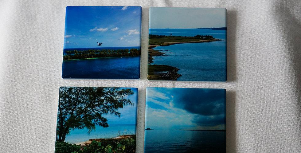 Ocean Scenes Ceramic Coasters Set of 4